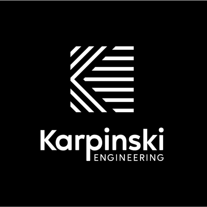 Karpinski Logo - White on Black