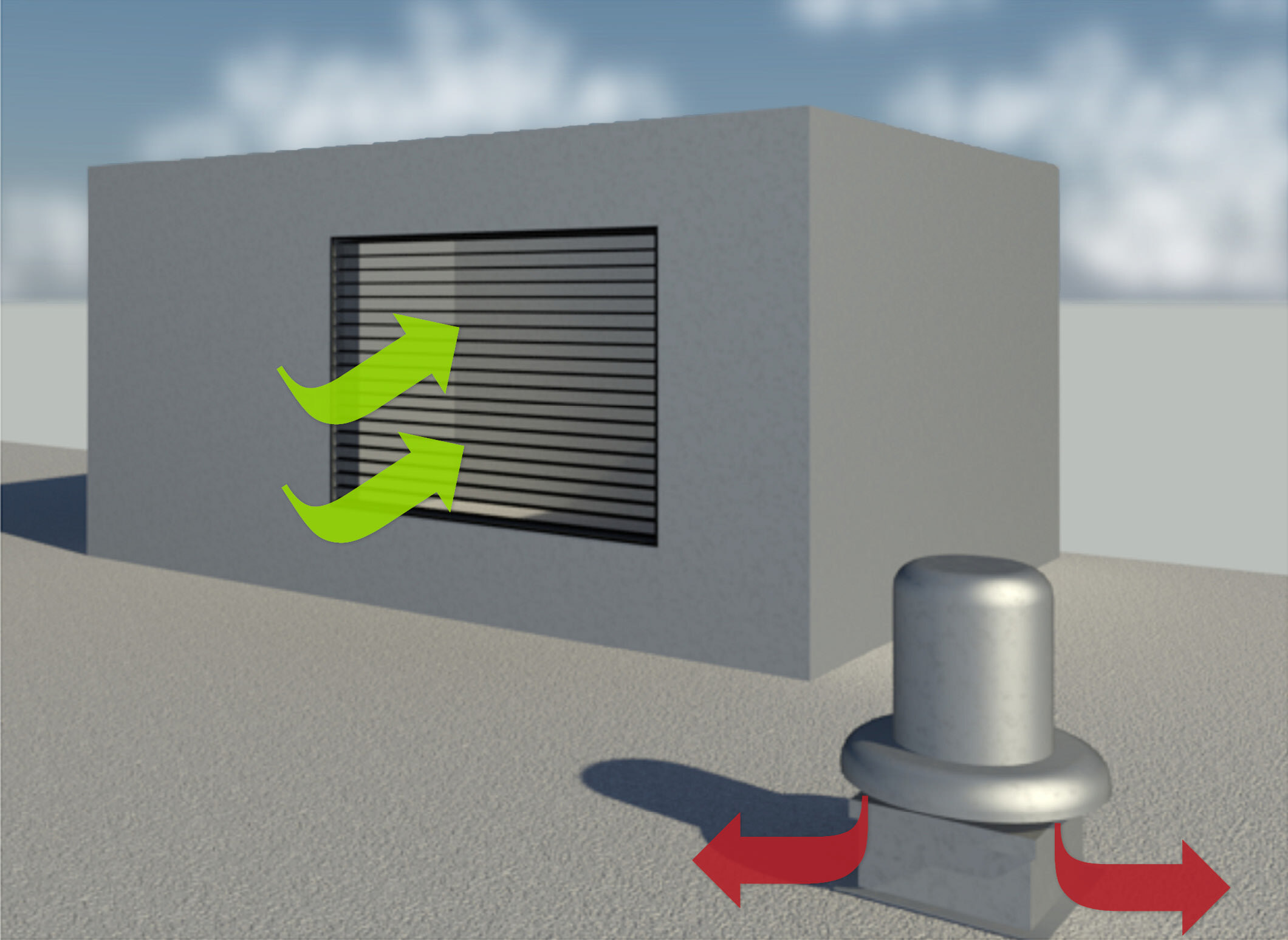 Diagram of air intake and discharge